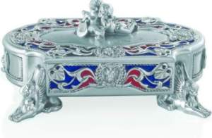 JEWEL CASE ANGLES 4 FEET, SILVER-PLATED RESIN, BLUE & RED ENAMEL Priced at Rs.45,000