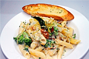 Pasta with four cheese,broccoli,  fried leeks and roasted almond