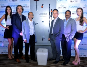 From right to left Mr.harvesh Marwah, mr. Kishore kapoor, Mr. CS Chen (MD Clayton Ceramics Australia) n Aftab Ahmad general manager international marketing at the launch of Caroma Bathware in India.....