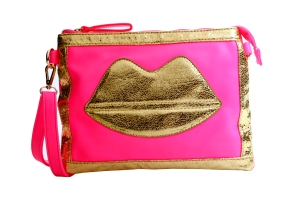 golden lips electric pink sling bag